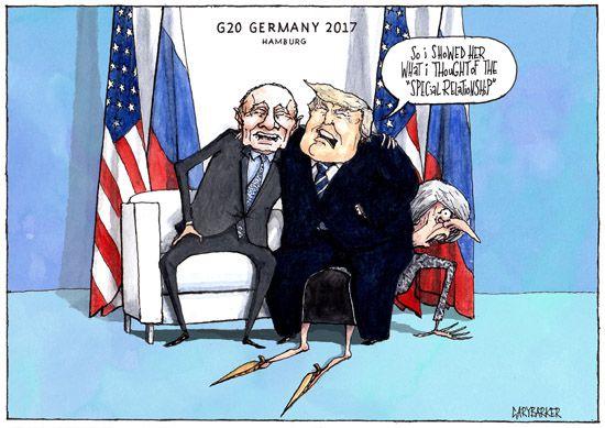 G20 Trump Cartoon May Putin Political Cartoonist Gary Barker Cartoons