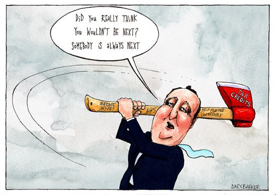 david cameron cuts tax credits political cartoonist gary