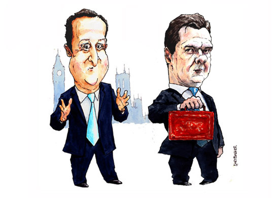 David Cameron and George Osborne caricature