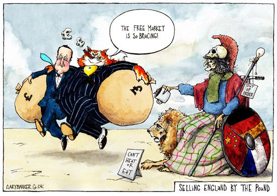 David Cameron Brittania austerity fat cat