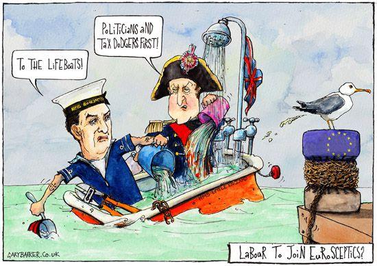 Cameron Miliband Eurosceptics Uk Political Cartoonist