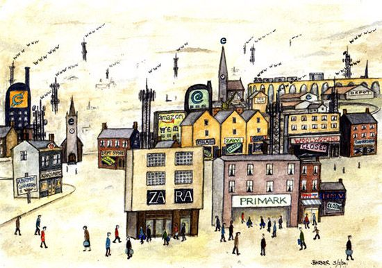 e-commerce LS Lowry illustration