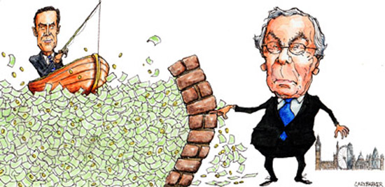 Mervyn King and Mark Carney caricature