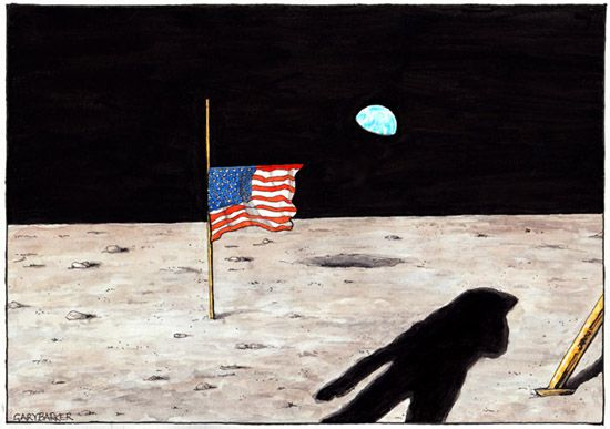 Neil Armstrong cartoon