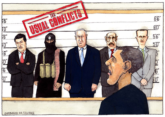 Barack Obama with Netanyahu, Assad, ISIS, Maliki, Mohyeldin