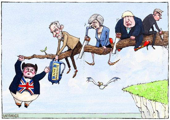 Brexit cartoon with Jeremy Corbyn and Theresa May