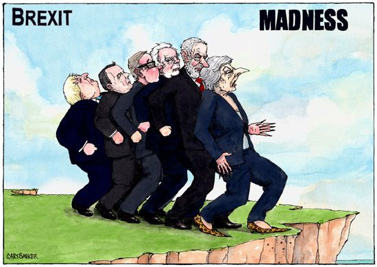 Theresa May, leads, politicians, over a cliff, brexit, cartoon