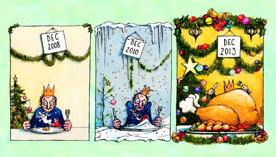 Christmas austerity recovery illustration