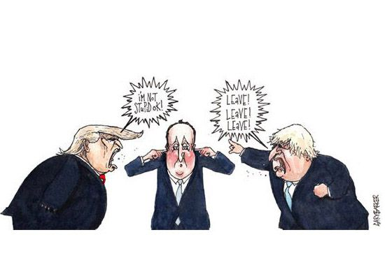 Donald Trump Boris Johnson David Cameron cartoon