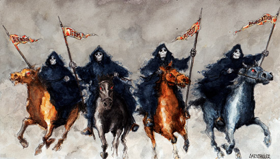 Four horsemen of the Apocalypse illustration