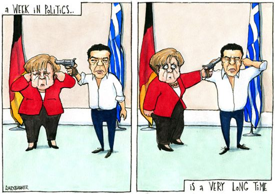Greek Merkel Tsipras cartoon