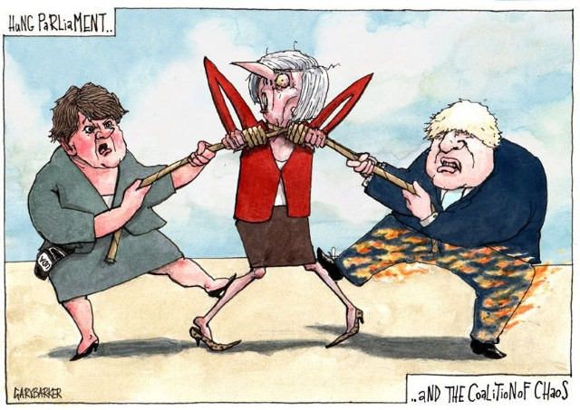 Arlene Foster Boris Johson Theresa May cartoon