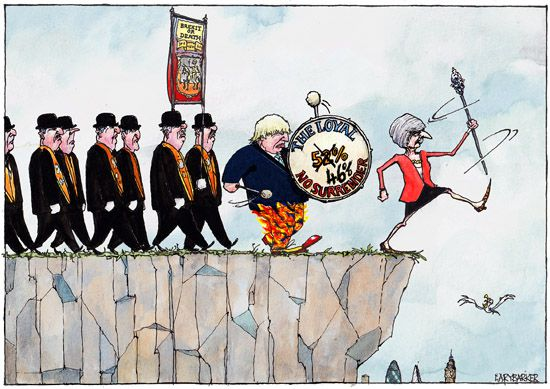 Leaver Lemmings Brexit cartoon dessin