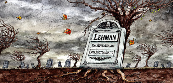 Lehman Brothers bank collapse illustration