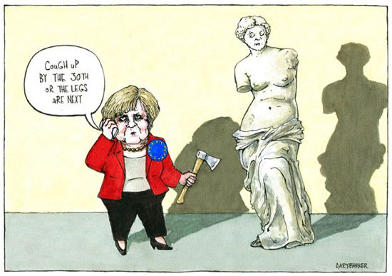 Greek EU debt Angela Merkel cartoon