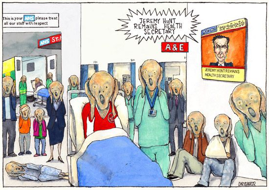 Scream, Jeremy Hunt, NHS, cartoon