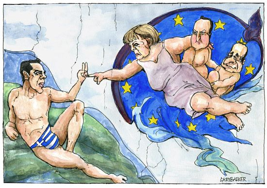 Tsipras Merkel EU cartoon