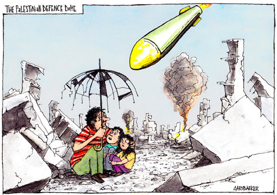 Palestinian Gaza iron dome cartoon