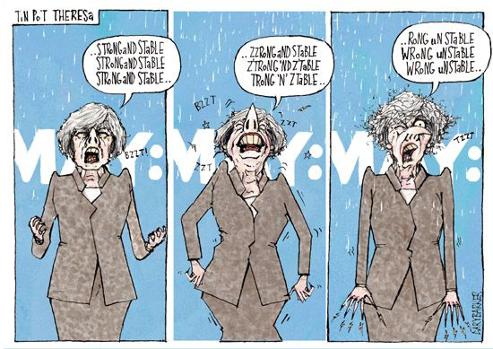 Robot Theresa May cartoon