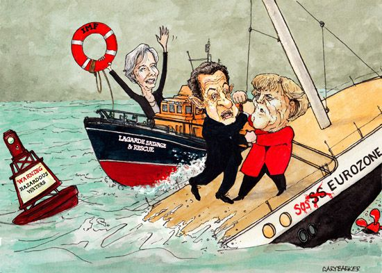 Sarkozy Merkel Lagarde cartoon