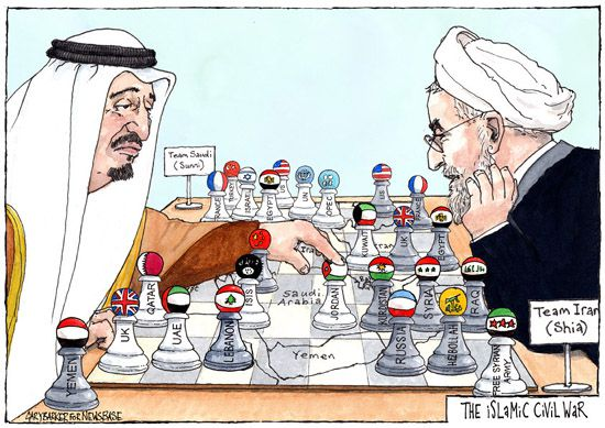 Saudi Salman Iran Rouhani cartoon