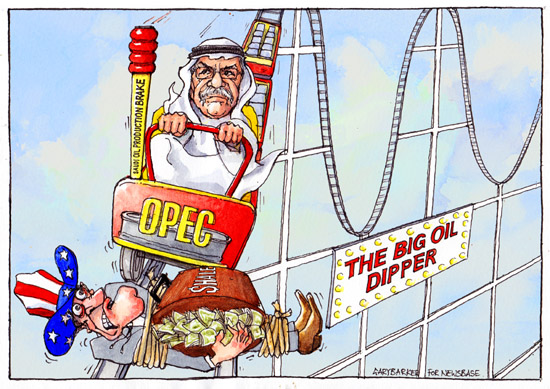 Saudi Oil Minister Ali al-Naimi OPEC oil cartoon fracking rollercoaster ride
