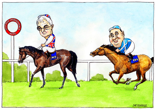 Racing Alistair Darling Alex Salmond cartoon