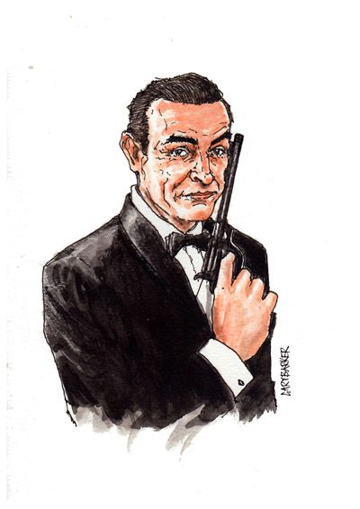Sean Connery caricature cartoon