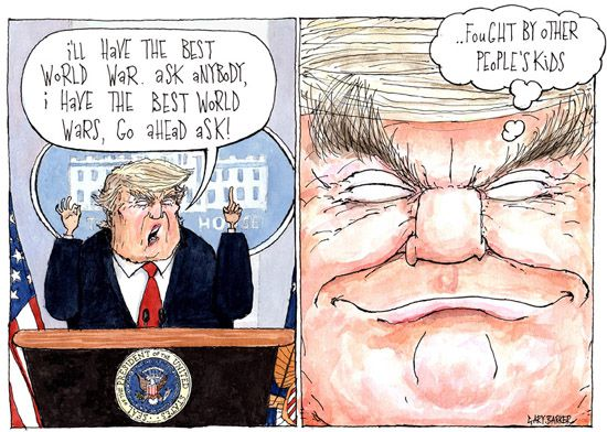 Syria bombing intervention Donald Trump cartoon