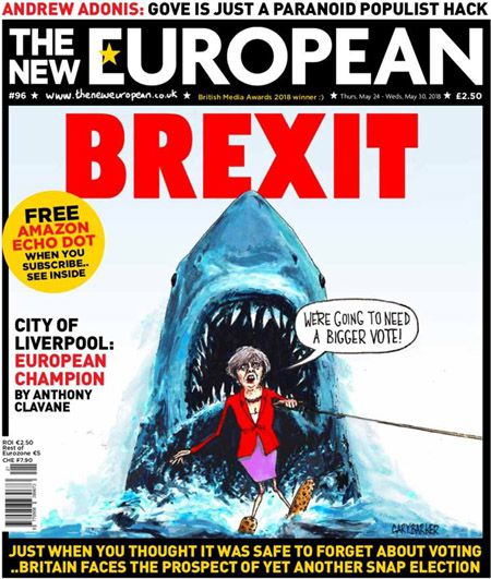 Theresa May, brexit, cartoon, jaws