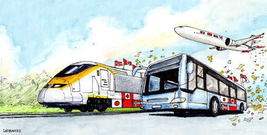 Rail Air Road Transport illustration