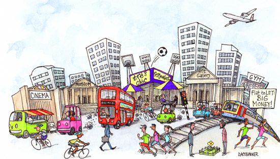 UK city living cartoon illustration